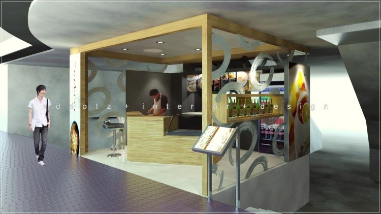 kiosk cafe interior design 3d visualization Malaysia