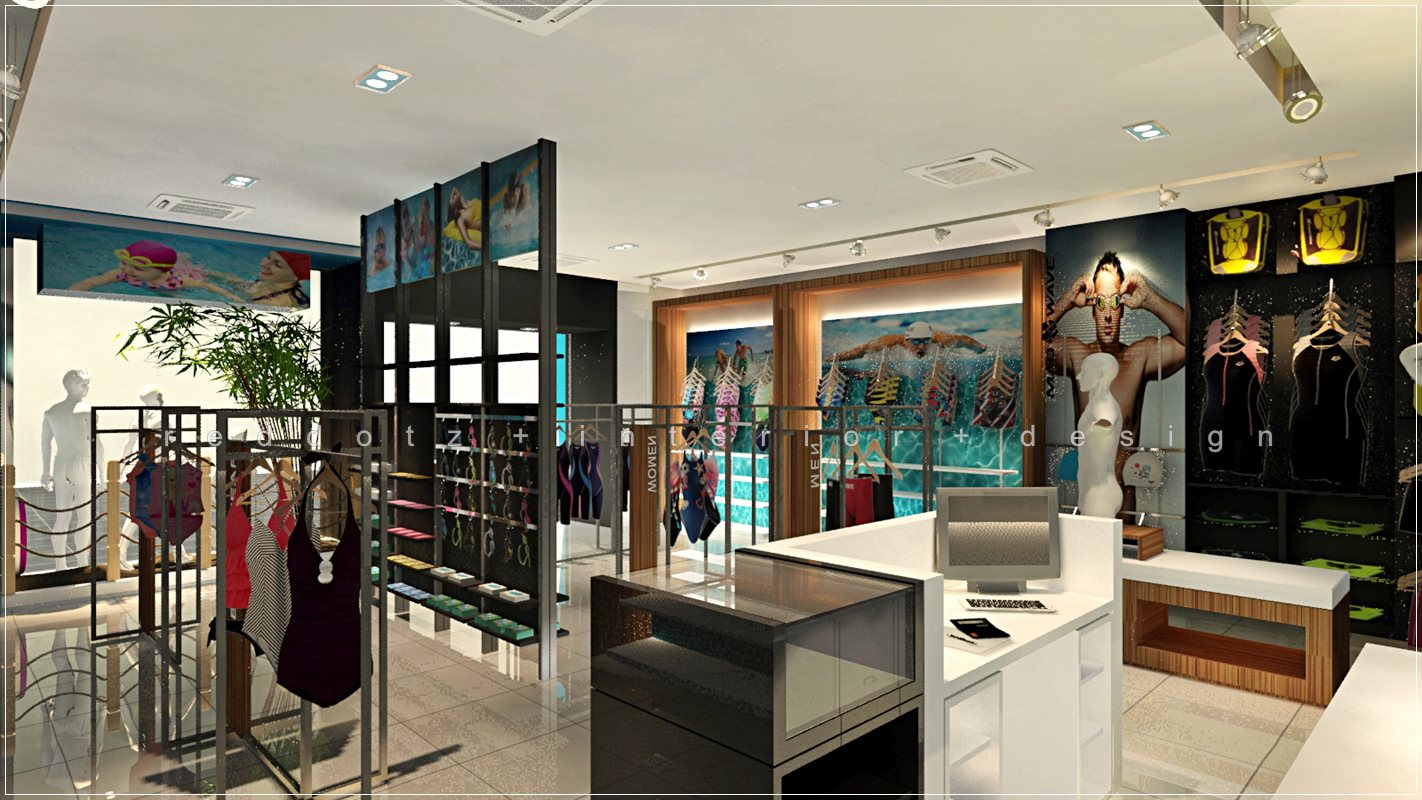 Swimming wear shop interior design 3d view get interior for Retail store interior design