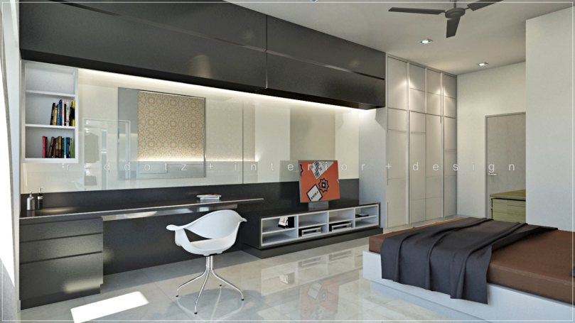 Modern bedroom study table and wardrobe design Klang – Get