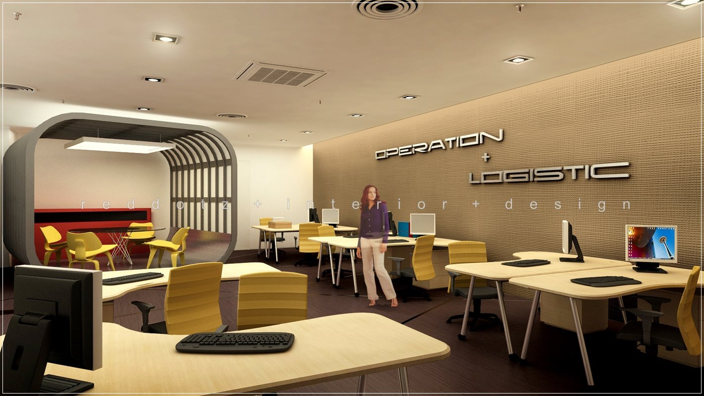 3d open office design with feature meeting area kuala for Office room layout