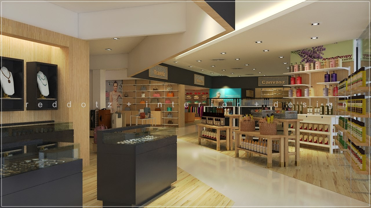 malaysia free duty retail shop 3d interior design