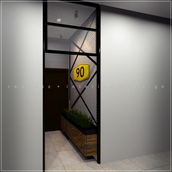industrial rustic office entrance design Shah Alam