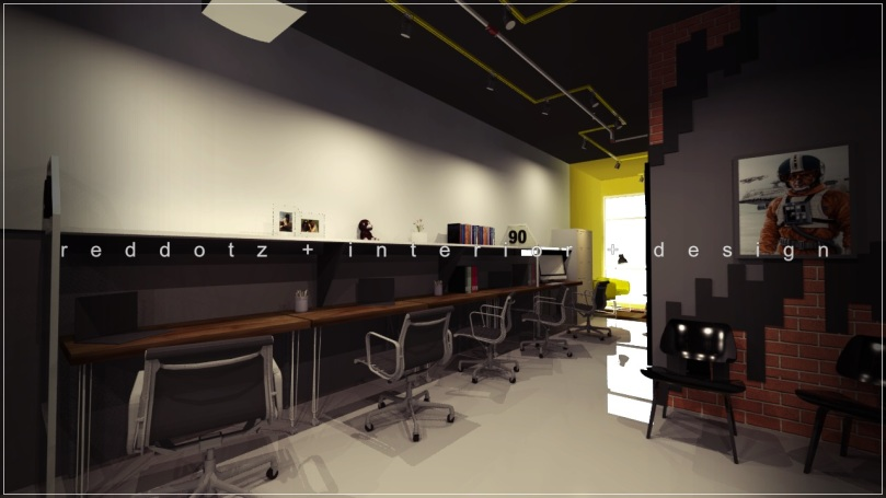 industrial rustic office workstation design Shah Alam