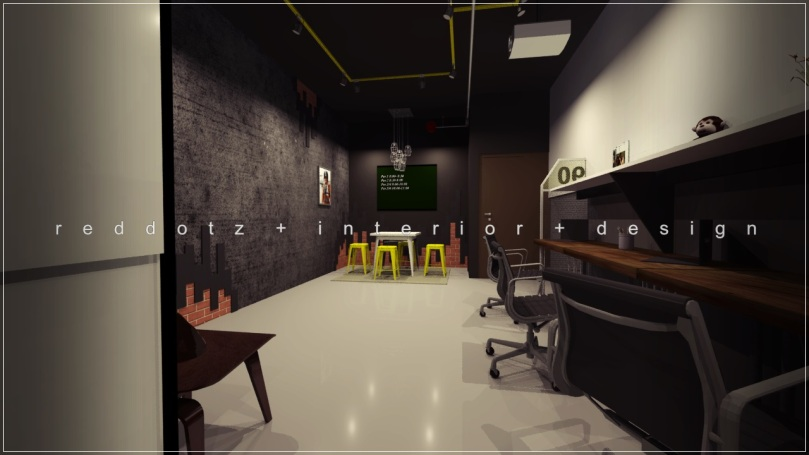 industrial rustic office design 3D Shah Alam