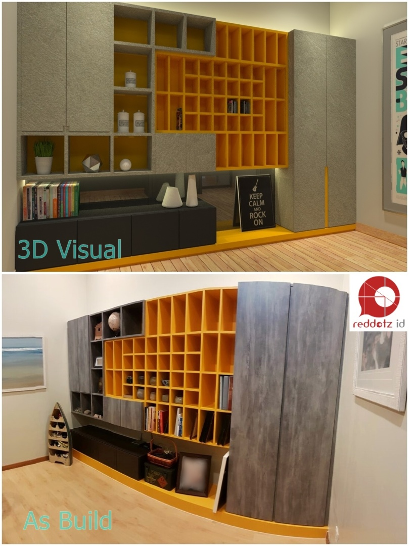 Before and After 3D vs As Build photo Bandar Bukit Raja Study Room Design