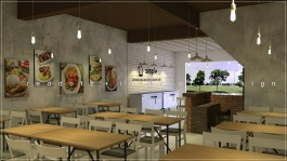 Subang simple chicken rice restaurant interior design Malaysia