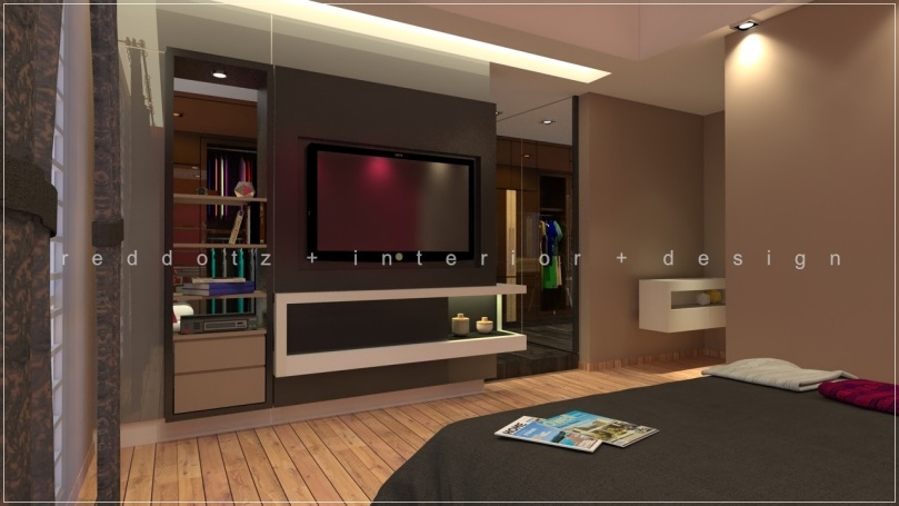 bedroom tv cabinet feature wall design Malaysia