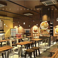 cafe red brick feature wall design