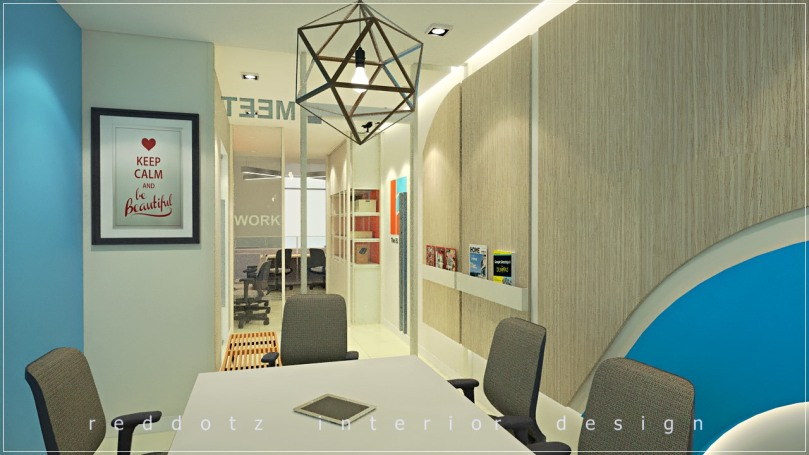 Office conference room design with glass partition and door