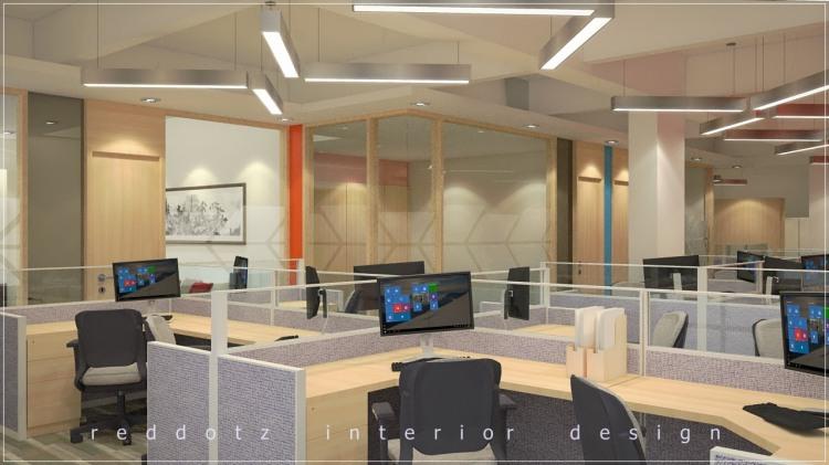 Open ceiling concept office workstations arrangement