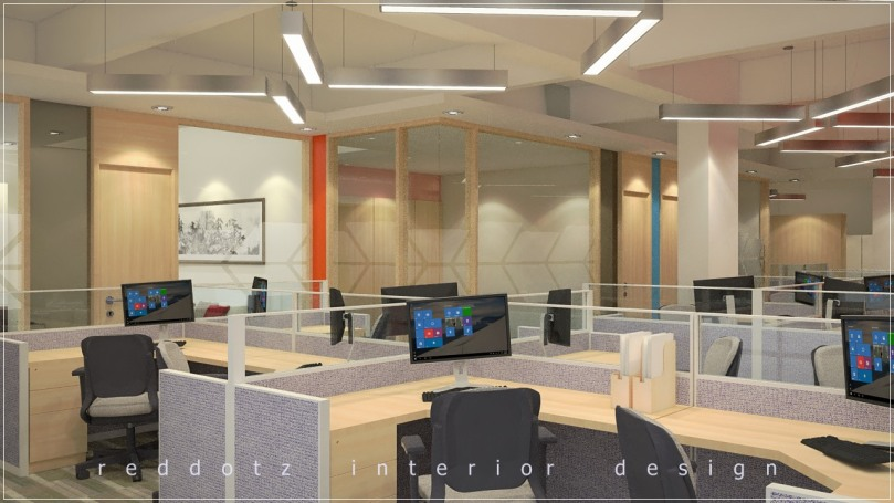 Open ceiling concept office workstations arrangement