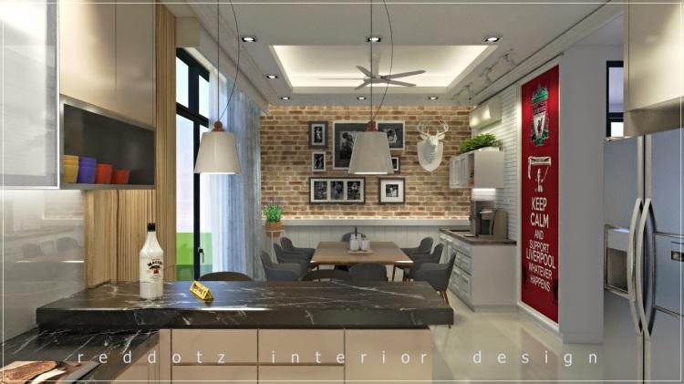 european style dining area brick wall design Malaysia