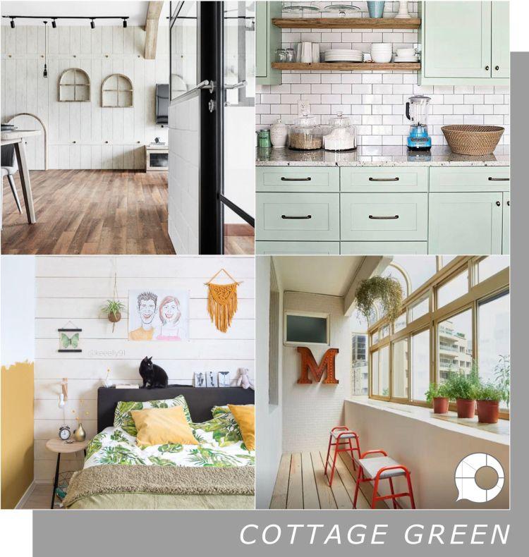 cottage green interior design theme